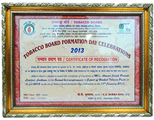 Certificate of Recognition from Tobacco Board
